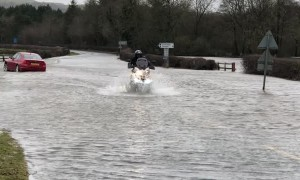 Driving Motorcycles Through Floodwater