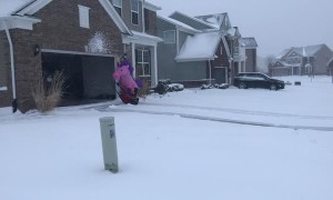 Snow Blowing Unicorn Takes on Michigan Snowstorm