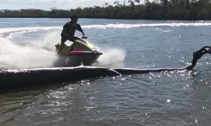 Jumping a Jet Ski in Slow Motion Along a Western Australia Estuary