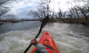 Kayaker Shoots Down a Drainage Pipe