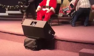 Santa Takes a Tumble on the Stage
