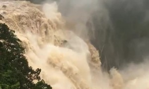 Waterfall Rages with Spectacular Force
