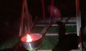 Backyard Catapult Launches Flames Skyward