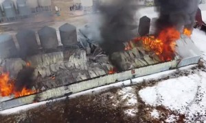Drone Captures Footage of Collapsed Burning Barn