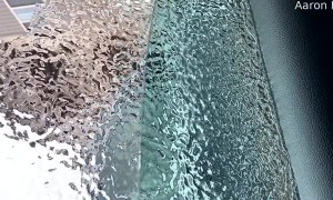 Storm Leaves Ice Sheet in Place Over Window