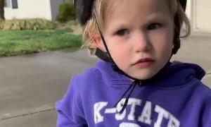 Kiddo Uses Garage Door to Stop Bicycle