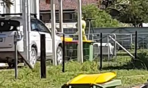 Teletubby Mows the Lawn