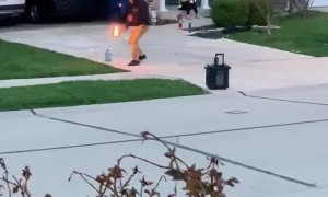 Man Puts on a Fiery Show for Quarantined Neighbors