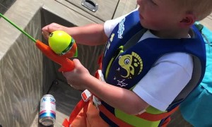 3-Year-Old Tosses Rod after Catching His First Fish