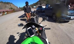 Motorcyclist Nearly Clips Deer Crossing Road