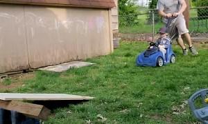Dad Gets Son Airborne During Quarantine Race