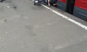 Unsuccessful Bike Trick on a Train
