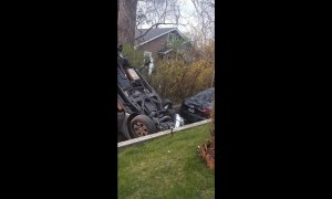 High Speed Smash in Driveway Shake House