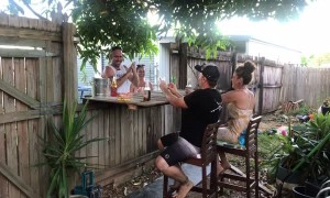 Neighbors Having a Cold One with a Folding Fence