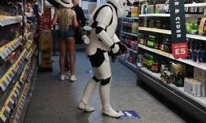 Storm Trooper Seen Shopping for Essential Supplies