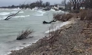 Windy Day Produces Big Waves on Lake