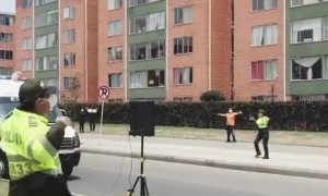Police in Bogota give zumba classes to quarantined residents
