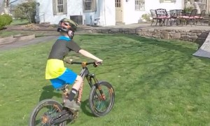 Boy Races Through Homemade BMX Track