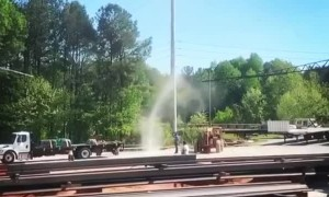 Large Dust Devil in Steel Yard