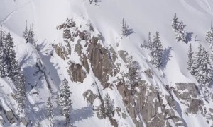 Professional Skier Front Flips From Massive Cliff