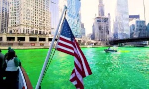 Dying the Chicago River Green in St. Patrick's Day Celebration