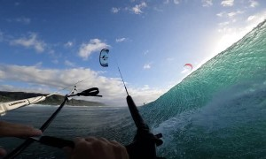 Kitesurfing a Deep Barrel