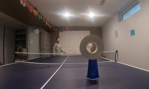 Skillful duct tape spin trick shot