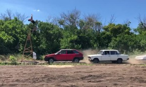 Guy Flips Over Speeding Cars