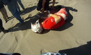 Rider Misjudges Dune Jump and Lands on Friend