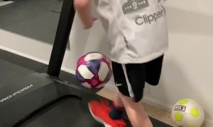 Kid Shows Off Excellent Soccer Skills on Treadmill