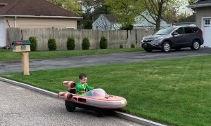 Kiddo Cruises Landspeeder into Bushes