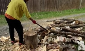 Improper Wood Chopping Leads to Slip Up