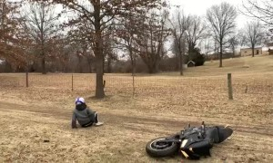 Sport Bike Rider Flips on Mudslide