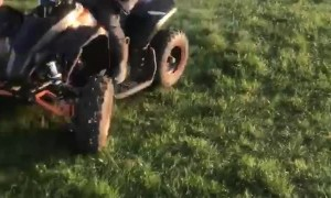 Boy Does Donuts on Mini Quad Bike
