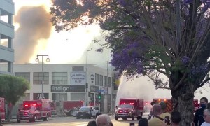 Los Angeles Firefighters Escaping Explosion