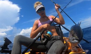 Kayaker Catches a Huge Tuna Off Coast of Florida While Being Followed by Hungry Sharks