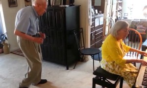 Elderly couple shows us how to live life when stuck indoors