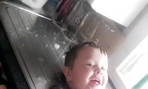 Kiddo Decides to Take a Random Sink Bath