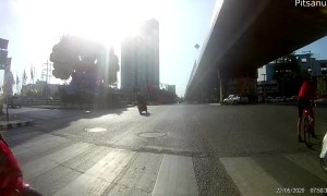 Moped Close Call After Running Red Light