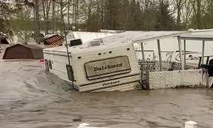 Trailer Floats Away in Flood