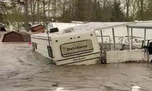 Trailer Floats Away in Flood