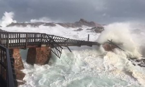 Bridge Broken Apart by Huge Storm