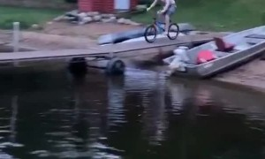 Slippery Dock Leads to Lake Jump Slide