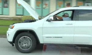 Distracted Driver Rolls with Hood Up