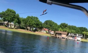 Water Skier Lands a Massive Jump