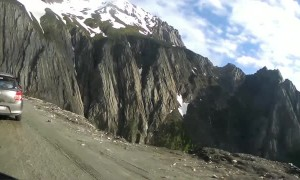 Riding Up a Steep Mountain Road