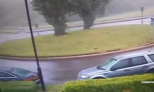 Vehicle Crashing into Roundabout