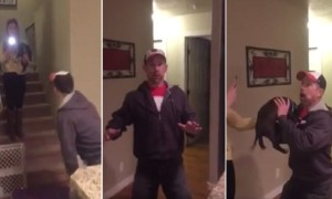 Dad's priceless reaction after being surprised with puppy