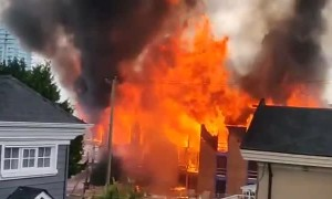Massive fire captured on camera in Vancouver, Canada