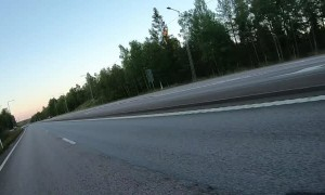 Car Turning Creates Close Call for Motorcyclist